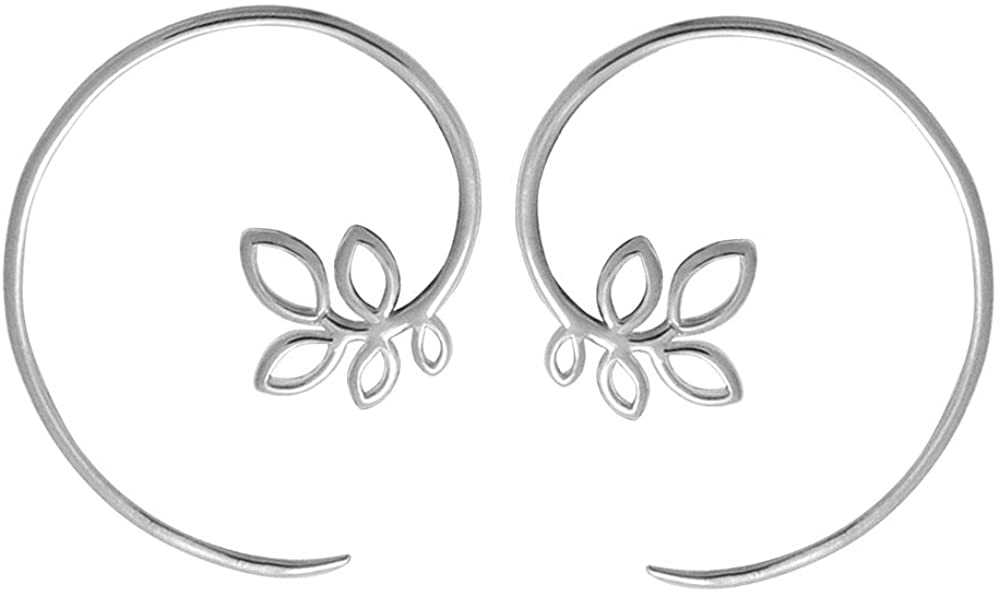 Boma Jewelry Sterling Silver Leaf Pull Through Hoop Earrings