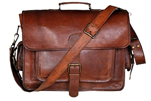 Men's Real Leather Crossbody Travel Satchel Laptop Macbook Briefcase Messenger Bag Brown