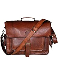 Handolederco. 18 Inch Vintage Handmade Leather Messenger Bag for Laptop Briefcase Satchel Bag 18X13X6 Inches Brown...