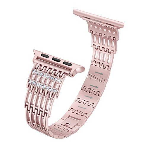 Secbolt Bling Bands Compatible Apple Watch Band 42mm Stainless Steel Hollowed-Out Metal Replacement Wristband Compatible Apple Watch Nike+, Series 3, Series 2, Series 1, Sport, Edition, Rose Gold