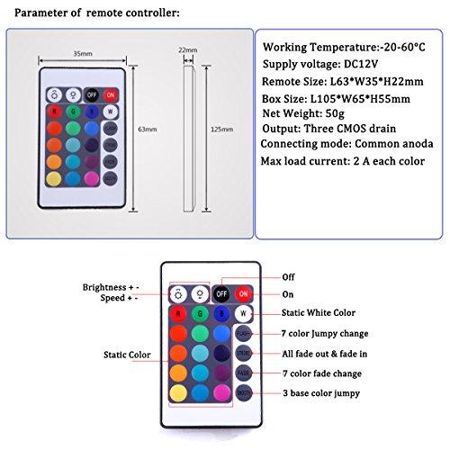 KPBOTL DC12V 6A RGB LED Controller with 24 Key Wireless led IR