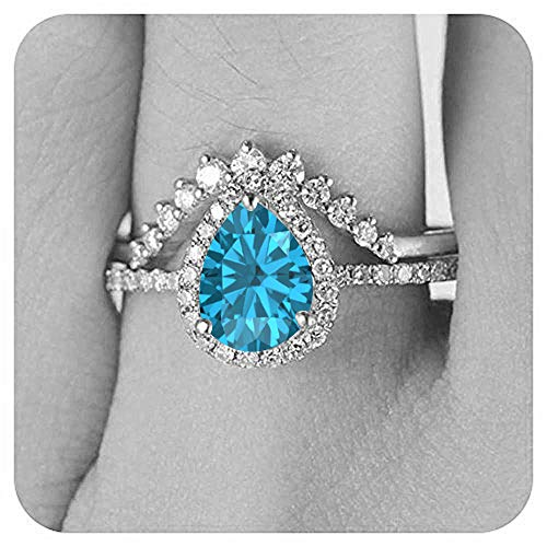 (Dabangjewels 6x8mm Pear Cut Created Swiss Blue Topaz & Diamond 14k White Gold Plated Wedding Band Bridal Ring Cuvred 'V' for Women)