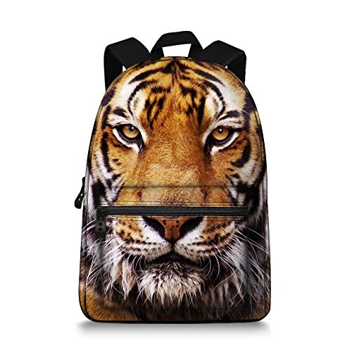 Tiger Backpack - JeremySport 15.5 Inch Canvas 3D Animal Face Tiger Back Pack for School