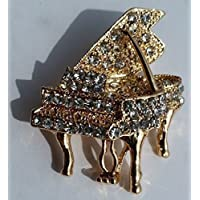 Gold-plated diamante Grand Piano brooch