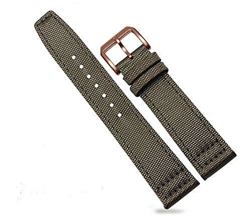 20mm 21mm 22mm Canvas Leather Watch Band Strap Fits for IWC Pilot's Watches (21mm, Green(Rose Gold - Gold Iwc Watch