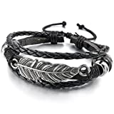 INBLUE Men,Women's Alloy Leather Bracelet Bangle Cuff Silver Tone Black Angel Wing Feather Adjustable