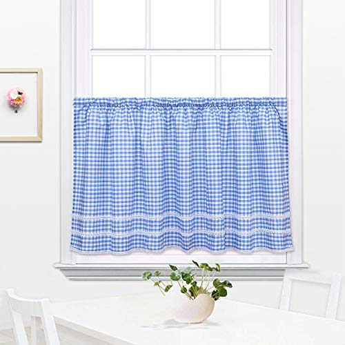 Curtains Gingham Tier - DOKOT Buffalo Check Plaid Gingham Country Kitchen Curtain Tier and Valance with Lace Crochet Border, 24 x 60 Inch, Blue