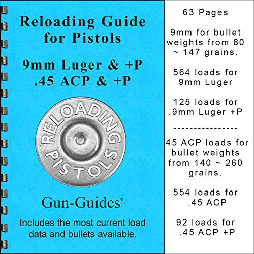 Gun-Guides Reloading Guide Manual Book for Pistols 9mm & +P and 45 Auto ACP & +P ()