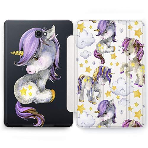 Wonder Wild Purple Unicorn Samsung Galaxy Tab S4 S2 S3 A E Smart Stand Case 2015 2016 2017 2018 Tablet Cover 8 9.6 9.7 10 10.1 10.5 Inch Clear Design Animal Hard Flip Bright Horse Women Girl Fantasy ()