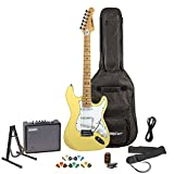 Sawtooth Citron Vanilla Cream Electric Guitar with White Pickguard-Includes Accessories, Amp, Gig Bag and Online Lesson