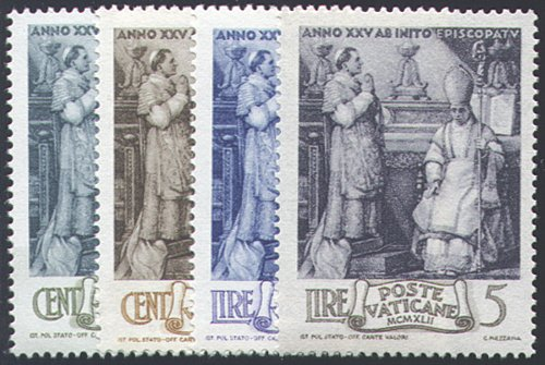 Goldhahn Vatikan 1943 postfrisch Nr.92-95 Briefmarken für Sammler