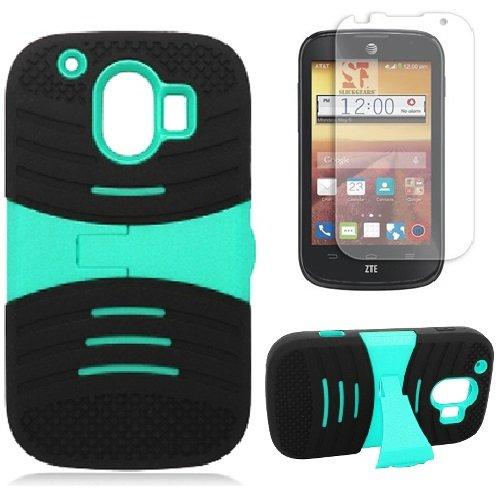 [SlickGearsTM] Heavy Duty M1 Series Armor Dual Layer Kickstand Case for ZTE Compel Z830 AT&T + Premium LCD Screen Protector Combo (TealPC)