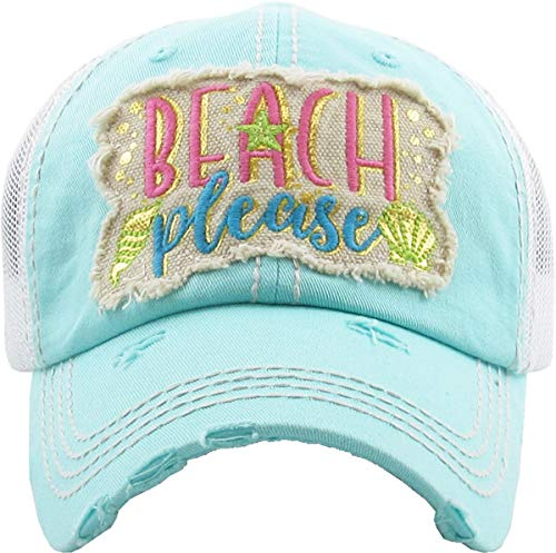 Leather Metallic Hat - H-212-BPM54 Distressed Baseball Cap Vintage Dad Hat - Beach Please Metallic (Mint)