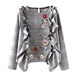 Mose T-Shirts for Women, New Casual Style Women's Ear Check Embroidered Sleeve Shirts Ruffle Blouse Plaid Sweatshirts Daily Fashion Tops New (L, Gray)