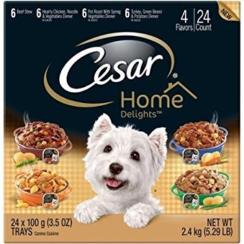 Cesar Home Delights Canine Cuisine Variety Pack 24 3.5-Ounce Trays [includes 6 each: Beef Stew, Hearty Chicken Noodle & Vegetables, Pot Roast, and Turkey Green Beans & Potatoes Dinner] Review