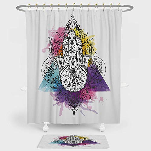 iPrint Evil Eye Shower Curtain And Floor Mat Combination Set Artistic Sketch Hand of Fatima Triangular with Watercolor Splashes Middle Eastern For decoration and daily use ()