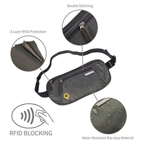 Reise Bauchtasche. Ultraleichtes, wasserabweisendes Grau Rip-Stop Material in Premiumqualität, RFID-Blocking-Schutz von Yadeno. Ideal zum Wandern, Laufen und sicheren Reisen. Lebenslange Garantie