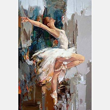 XIAOXINYUAN 100% Pintado A Mano Pintura Al Óleo Abstracta Cuerpo Humano Arte Ballet Mujer Pared Cuadros Pintura Salón Decoración del Hogar 50×80Cm