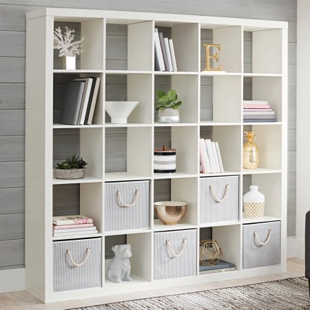 (Shelly Shelves Wood Storage Organizer - 25 Cube Storage Organizer - White)