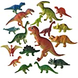 17 Pieces 3'' to 9'' Educational Dinosaur Toys - Dinosaur Boy Toy Plastic Assorted Dinosaur Figures