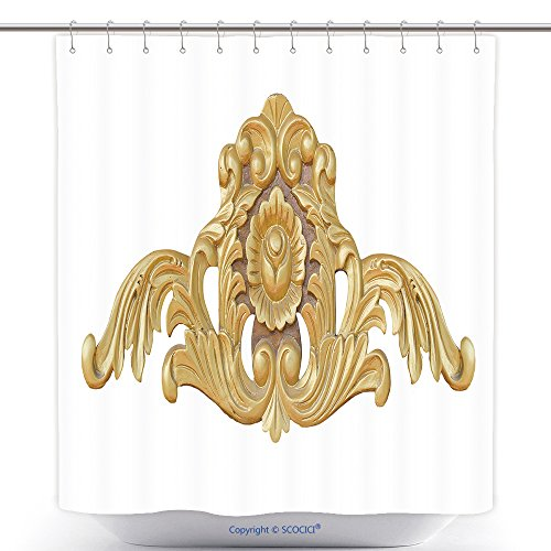 Cool Shower Curtains Ornate Wood Carving Ornament On White Background 137666126 Polyester Bathroom Shower Curtain Set With Hooks (Superman Pumpkin Carving)