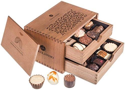 ChocoRoyal Midi - 20 exclusivos Surtido De Pralinés | bombones Praliné | regalo en caja de madera | sabores | Chocolate | Cumpleaños | Adultos | Mujer | Hombres | Dia de la madre | Dulces navideños