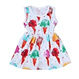 Muxika Infant Baby Girl Kids Sleeveless Ice Cream Print Casual Sundress Dresses