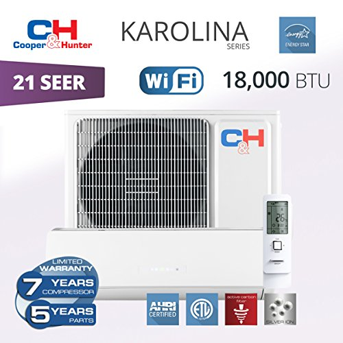 Cooper & Hunter Karolina Wi-Fi Energy Star Ductless Mini Split Air Conditioner up to 27 SEER (18,000 BTU, 230V) by COOPER AND HUNTER