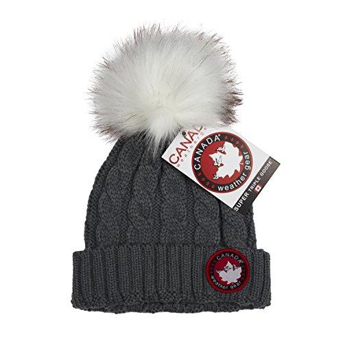 Canada Weather Gear Grey Chunky Cable Knit Hat Beanie with Fur Pom Pom - Grey