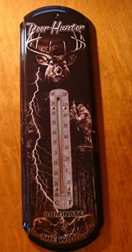 Hunting Lodge Log Cabin Decor Deer Hunter Dominate The Woods Thermometer