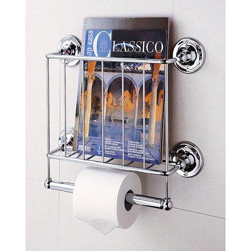 Bathroom Wall Mount Magazine Rack, multi-functional, Chrome finish (Magazine Rack Bathroom Wall)