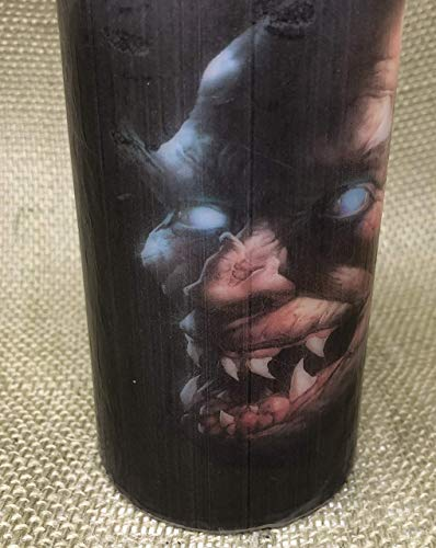 Halloween pillar candle unscented centerpiece 3x6 Halloween Nasty Evil decoupage upcycle decorated one piece