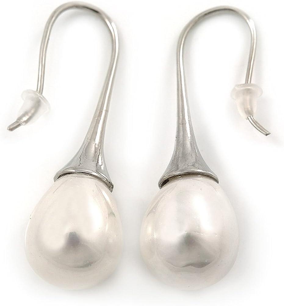 Novia de la boda/blanco pendientes de la perla de agua dulce en forma de lágrima en tono plata - 40 mm L