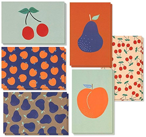 48 Pack All Occasion Assorted Blank Vintage Note Cards Greeting Cards Bulk Box Set - 6 Colorful Fruit Designs Cherries, Pears, Peaches Notecards with Envelopes Included - 4 x 6 - Fruit Stationery