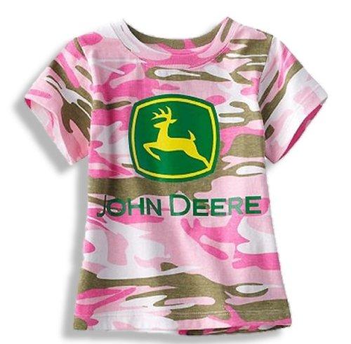 John Deere T-shirt Shorts - John Deere Pink Camo Short Sleee T-Shirt (4T)
