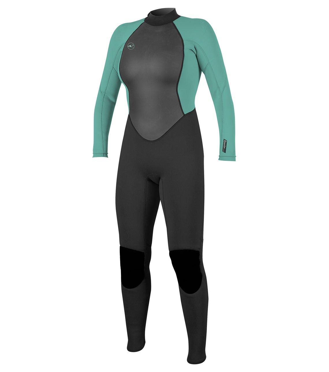 O'Neill Women's Reactor-2 3/2mm Back Zip Full Wetsuit, Black/Aqua, 4 by O'Neill Wetsuits