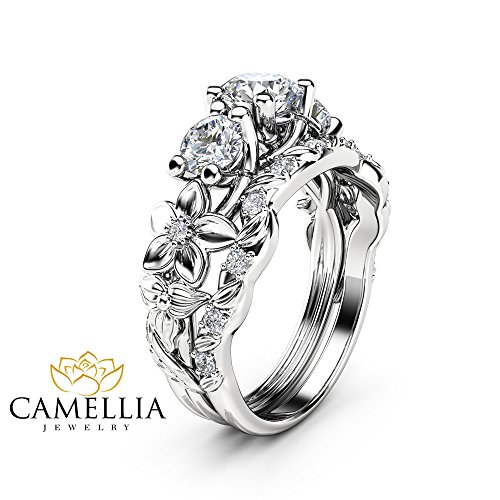 Moissanite Leaf Engagement Ring Set 14K White Gold Three Stone Ring Unique Ring with Matching Diamond Band