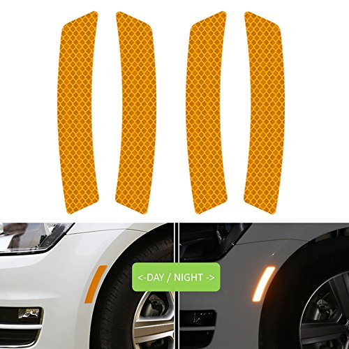 Reflective Tape Caution Warning Safety Reflector Strips Sticker Fluorescent Waterproof Reflective Car Decals Automobile Car Pickup Truck SUV RV Boat Motorbike Helmet 4pcs (Orange, 5.5-in x 0.9-in)