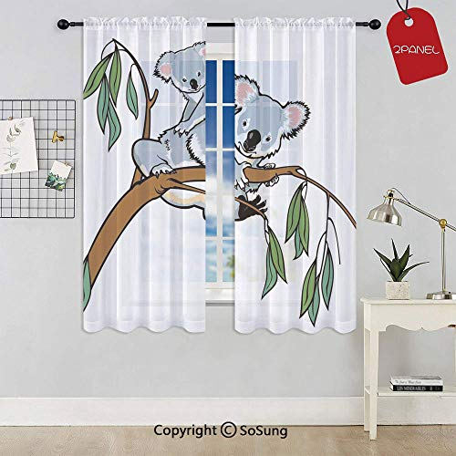 Mother and Baby Koala Climbing over Eucalyptus Tree Branch Wildlife Forest Rod Pocket Sheer Voile Window Curtain Panels for Kids Room,Kitchen,Living Room & Bedroom,2 Panels,Each 42x54 Inch,Grey Brown (Wires Voile Climbing)