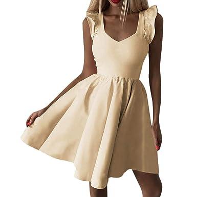 Slyar Vestido De Fiesta Mujer Cortos Falda Corta con Cuello En V ...