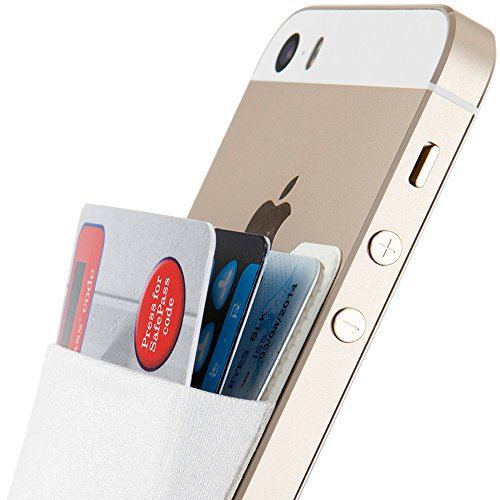 White Back Case - Sinjimoru Card Holder for Back of Phone, Stick on Wallet functioning as Credit Card Holder, Phone Wallet and iPhone Card Holder/Card Wallet for Cell Phone. Sinji Pouch Basic 2, White
