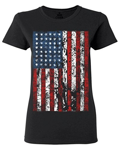 Shop4Ever® United States of America Flag Vintage Women T-Shirt USA Flag Shirts