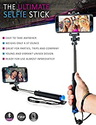 Selfie Stick for iPhone 6 Plus, Android, Samsung Galaxy S6 S5, iPod. Comes with Built-in Bluetooth Remote Shutter. Lightweight Monopod Extendable Arm. Super Pocket Size. Young Design. Free eBook
