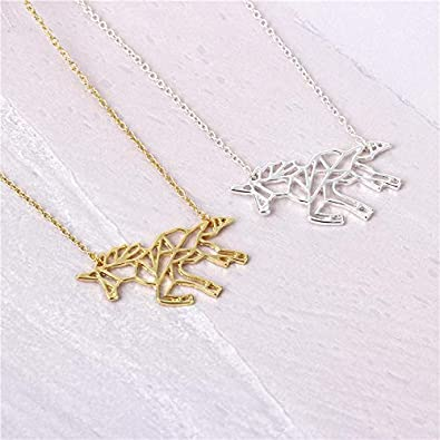 Your Always Charm Unicorn Necklace,Origami Flying Horse Necklace Best Friend Message Card