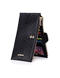 APHISON Women's RFID Blocking Leather Credit Card Holder Wallet Ladies Long Zipper Pocket Purse(Purple)/Gift Box 02 (BLACK)