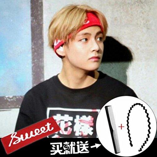 sports headband tide men man korean headdress headband hair bands broadside issuing letters scarf women girls hair accessories hair pin comb claw (# 10 red sweet- gold middot; thai middot; hang sa