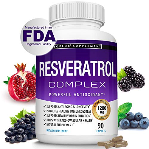 Resveratrol Supplement 1200 mg Antioxidant Complex - Highly Potent Natural Trans-Resveratrol Pills for Anti-Aging, Cardiovascular Support, Immune System and Brain Function, for Men Women, 90 Capsules