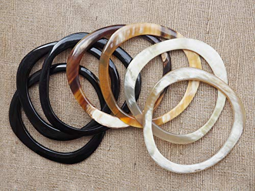 Natural Buffalo Horn Jewelry Bangle Set 7 Bracelets ()