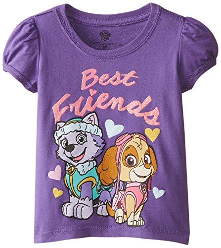 Paw Patrol Little Girls' Toddler Short Sleeve T-Shirt, Grape Violet, 4T ()