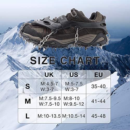 AUHIKE Traction Cleats,Ice Snow Grips Crampons for Footwear with 19 Stainless Steel Spikes for Walking Jogging Climbing,Wet Grass Hiking on Snow and Ice